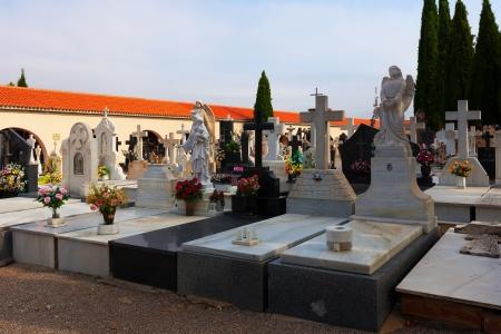 gravesite: TERUEL, SPAIN - AUGUST 25:  Christianity gravesite on August 25, 2013 in Teruel, Spain.  Day view of cemetery in Teruel  Editorial