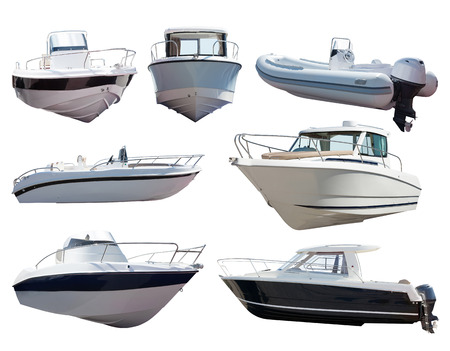 motor boat: Set of motor boats. Isolated over white background
