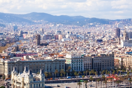 columb: Day  view of  Barcelona cityscape. Catalonia, Spain