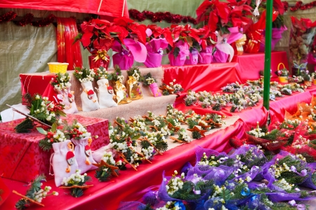 Flowers and decorations at the Christmas market near Sagrada Familia  photo