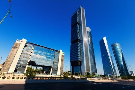 cuatro: MADRID, SPAIN - AUGUST 29: Cuatro Torres Business Area in August 29, 2013 in Madrid, Spain.  Construction of CTBA buildings finished in 2008 Editorial