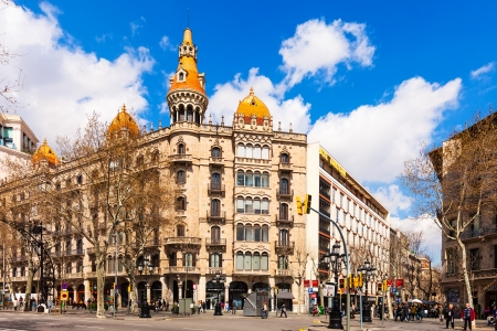 paseig: BARCELONA, SPAIN - MARCH 28: Cases Pons in March 28, 2013 in Barcelona, Spain. Was built in 1890–1891 by Catalan architect Enric Sagnier, neo-Gothic in style