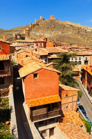 medieval street with old fortress wall in Albarracin. Aragon photo