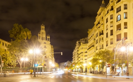City street in night - Avenue del Marques de Sotelo. Valencia, Spain