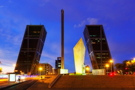Puerta de Europa at Plaza de Castilla in evening. Madrid, Spain  photo