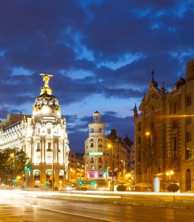 gran via: Evening view of Madrid. The Crossing  Calle de Alcala and Gran Via