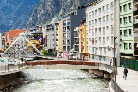 tourism in andorra: ANDORRA LA VELLA, ANDORRA - MAY 8: Gran Valira river in May 8, 2013 in Andorra la Vella, Andorra. City located in the east Pyrenees between France and Spain
