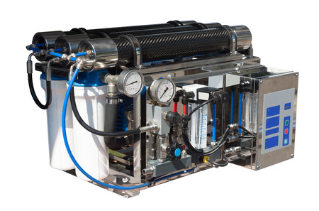 reverse: Reverse osmosis system. Isolated over white