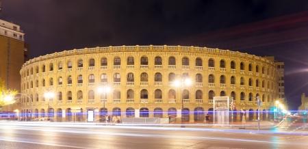 plaza de toros: Plaza de toros in night. Valencia, Spain Editorial