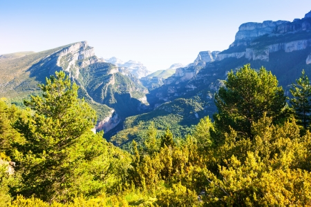 anisclo: Pyrenees Mountains landscape with Anisclo Canyon in summer. Huesca, Aragon
