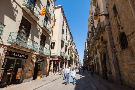 gotico: BARCELONA, ESPA�A - 14 de abril: calle Ferran en el Barrio G�tico, en 14 de abril 2013 en Barcelona, ??Espa�a. Es el centro de la ciudad vieja de Barcelona. Centro de la vida tur�stica Editorial