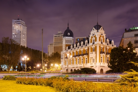 Night view of Spain Square - one of the symbol of Madrid, Spain photo