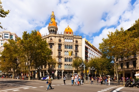 neogothic: BARCELONA, SPAIN - SEPTEMBER 12: Cases Pons on September 12, 2013 in Barcelona, Spain.  Was built in 1891 by Catalan architect Enric Sagnier, neo-Gothic style, with decoration by Alexandre de Riquer