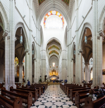 MADRID, SPAIN - APRIL 25: Inside view of Almudena Cathedral in April 25, 2013 in Madrid, Spain.  Santa Maria la Real de La Almudena is Catholic cathedral - main church of Spain