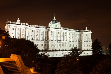 Night view of Royal Palace of Madrid - is official residence of Spanish Royal Family