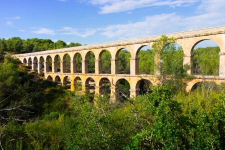 acueducto: Antique roman aqueduct in  forest. Tarragona, Catalonia Stock Photo