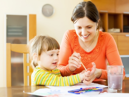 handbreadth: Happy mother and her child drawing on paper with hands and watercolor. Focus on woman only
