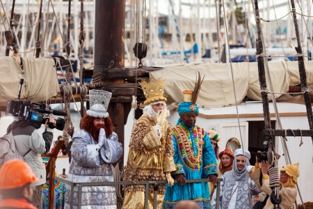 BARCELONA, SPAIN - JANUARY 5, 2014: Cavalcade of Magi in Barcelona, Spain. Arrival of the Magi  by ship