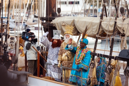 BARCELONA, SPAIN - JANUARY 5, 2014: Cavalcade of Magi in Barcelona, Spain. Arrival of the Magi to Barcelona port by ship