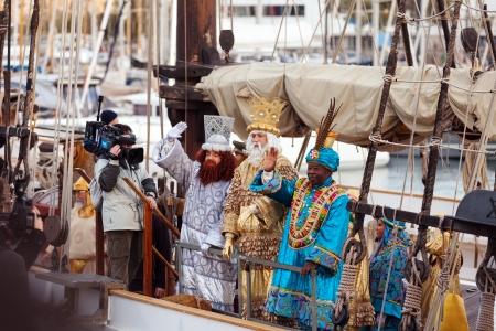 BARCELONA, SPAIN - JANUARY 5, 2014: Cavalcade of Magi in Barcelona, Spain. Arrival of the Magi to Barcelona port by ship