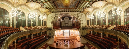 BARCELONA, SPAIN - NOVEMBER 7, 2013: Panorama of interior of Palace of Catalan Music in Barcelona, Catalonia.  Palace was built between 1905 and 1908