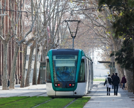 tramway: Ordinary tramway in Barcelona. Spain
