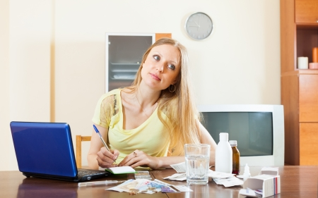 serious woman counting the cost of treatment at home
