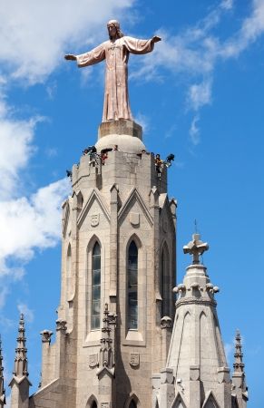 lasted: BARCELONA, SPAIN - MAY 18: Sculpture on Expiatory Church of  Sacred Heart of Jesus in May 18, 2013 in Barcelona, Spain.  Construction of the temple dedicated to the Sacred Heart, lasted from 1902 to 1961