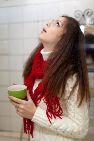 sicken: Illness girl gargling throat in her bathroom