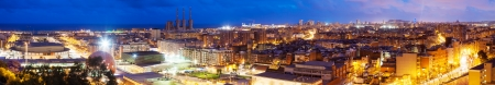 Panoramic night view of Barcelona from Badalona. Catalonia, Spain