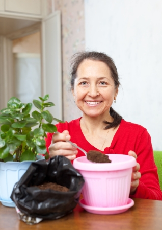 Mature woman works with  flower pots at her home photo