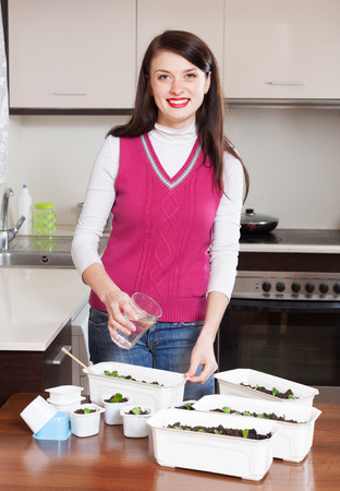 Smiling brunette gardener watering sprouts at home photo