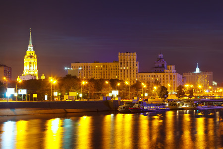 View of Moscow. Berezhkovskaya embankment  in summer  night photo