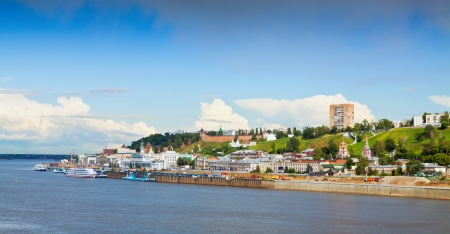 oka: Summer view of historic district of Nizhny Novgorod. Russia Stock Photo