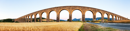 acueducto: Panorama of Acueducto de Noain near Navarre. Spain  Stock Photo