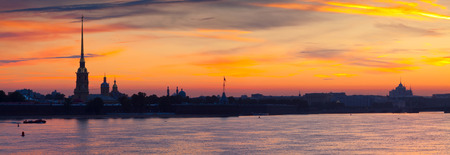 Panorama of St. Petersburg. Peter and Paul Fortress in summer morning photo