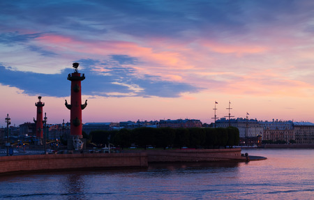 View of St. Petersburg.  Spit of Vasilievsky Island  in summer dawn photo