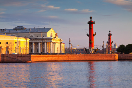 View of Saint Petersburg.  Spit of Vasilievsky Island  in summer morning photo