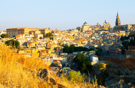 View from hill to Toledo in sunny morning. Spain photo