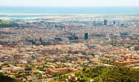 Top  view of residence district in  city. Barcelona,  Spain Stock Photo - 26053639