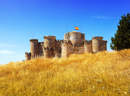 Medieval castle in Belmonte. Castile-La Mancha, Spain Editorial