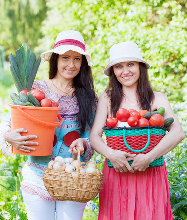 average age: Two happy women with  harvested vegetables in garden