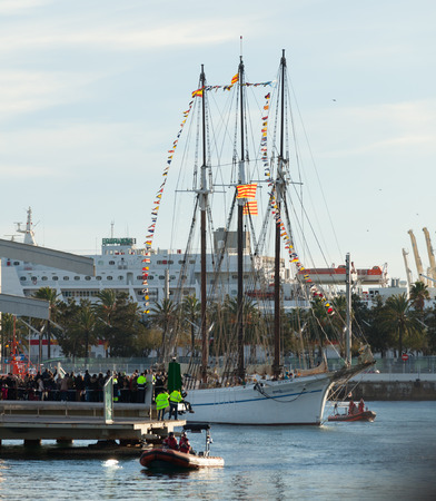 BARCELONA, SPAIN - JANUARY 5, 2014: Cavalcade of Magi in Barcelona. Arrival of the Magi to Barcelona port by boat