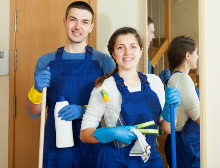 company premises: Handsome cleaners team is ready to work