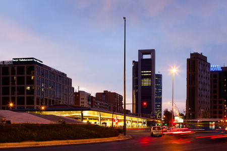 MADRID, SPAIN - AUGUST 28: Plaza de Castilla in evening in August 28, 2013 in Madrid, Spain.  Bus terminal and Torre Caja Madrid