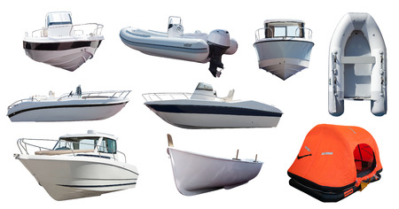 speed boat: Set of  boats. Isolated over white background