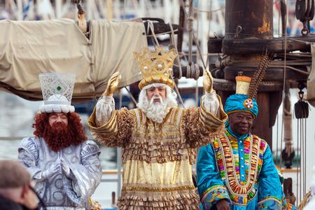 three kings:  BARCELONA, SPAIN - JANUARY 5, 2014: Cavalcade of Magi in Barcelona, Spain. Arrival of the Magi