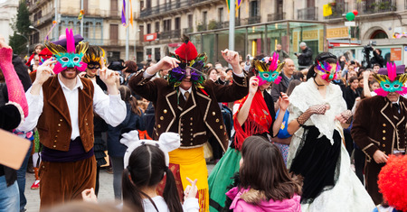 mummery: BARCELONA, SPAIN - MARCH 2, 2014: Carnival Balls to the Popular Culture  Catalan Editorial