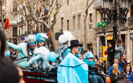 mummery: BARCELONA, CATALONIA - MARCH 2, 2014: The parade of the Carnival King at Barcelona