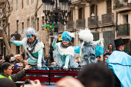 mummery: BARCELONA, SPAIN - MARCH 2, 2014: The parade of the Carnival King at Born district Editorial